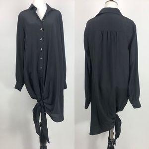 Thakoon + Addition Tie Front Silk Shirt Dress/Tuni